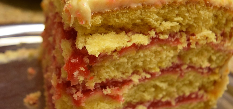 Lemon Layer Cake with Strawberry Filling and Lemon Frosting