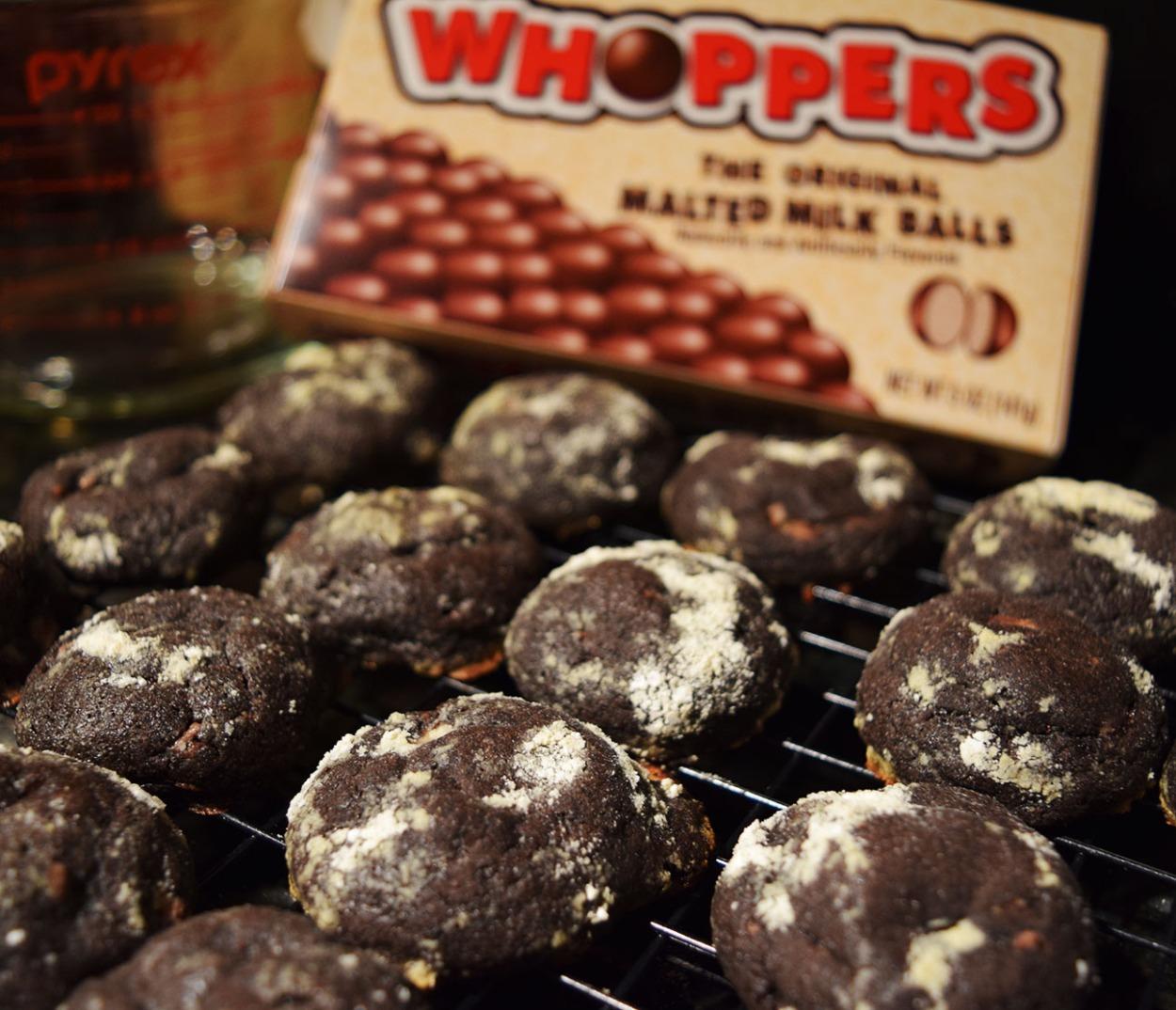 Chocolate Malt Crinkle Cookies