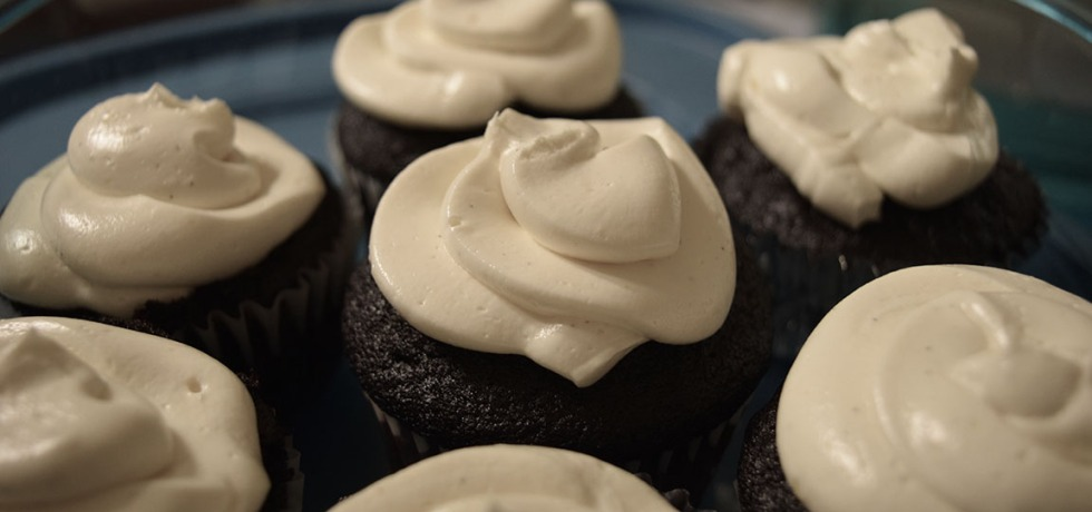 Vanilla Cooked Buttercream Frosting on chocolate cupcakes