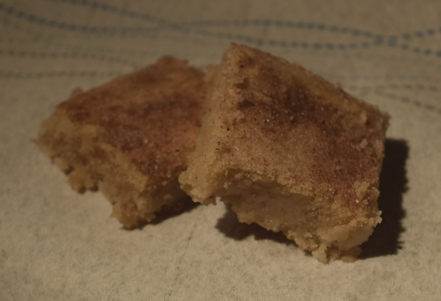 Sugar cookie bars with cinnamon and sugar