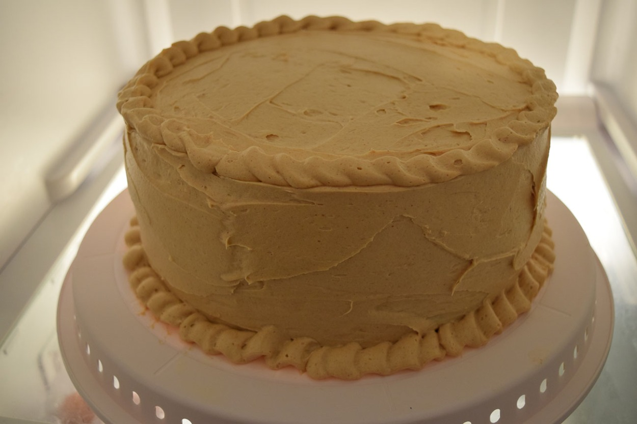 Peanut butter banana cake with peanut butter frosting and banana filling