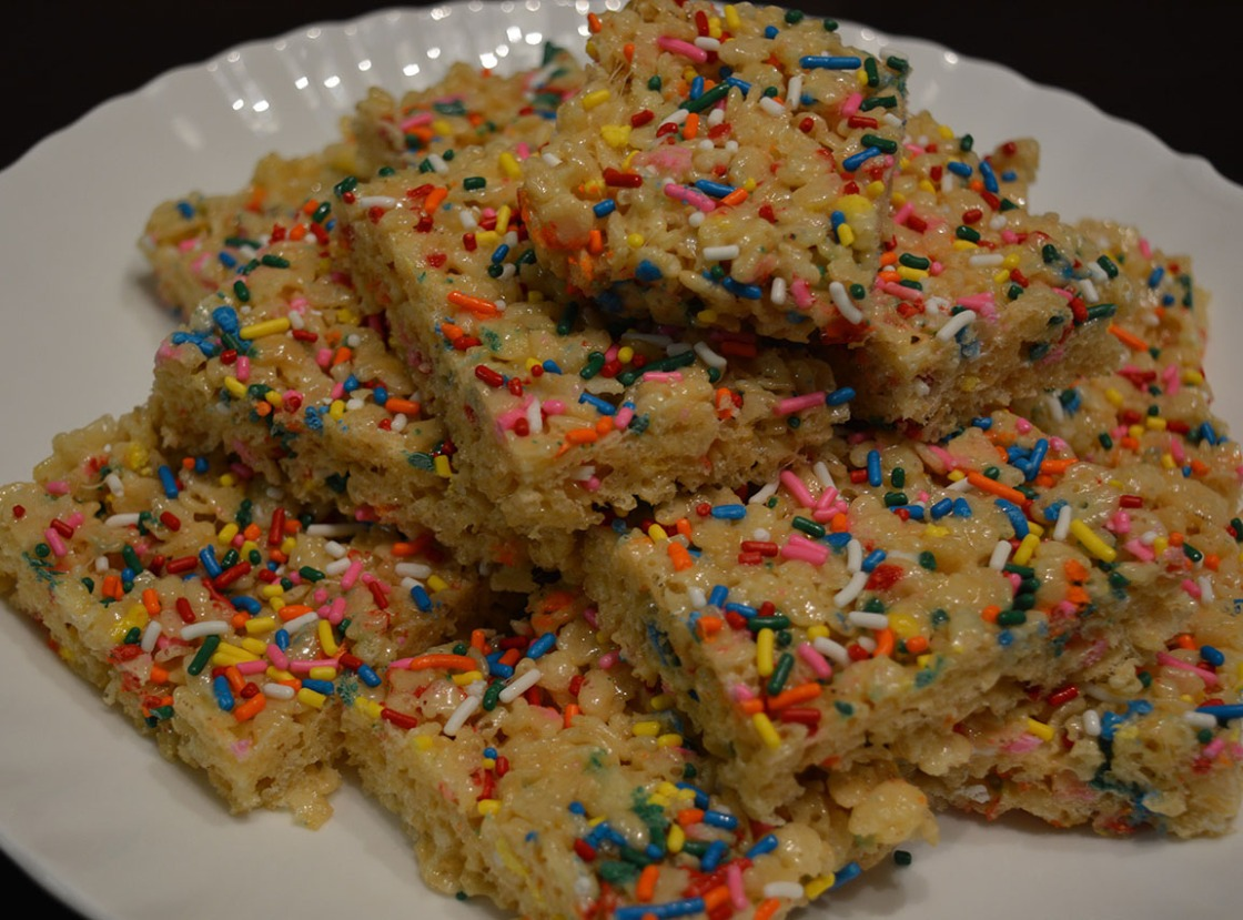 Birthday cake batter rice crispy treats