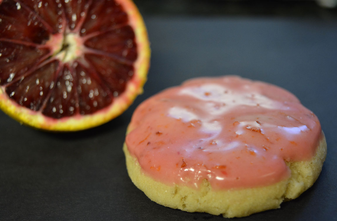 Vegan blood orange cookies with pink glaze