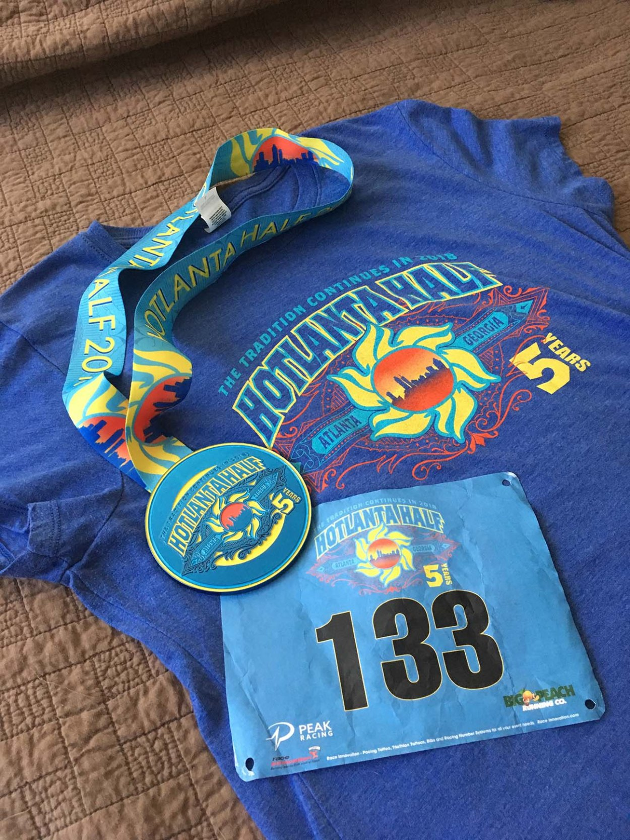 Hotlanta Half Marathon T-shirt, Medal, and Race Number