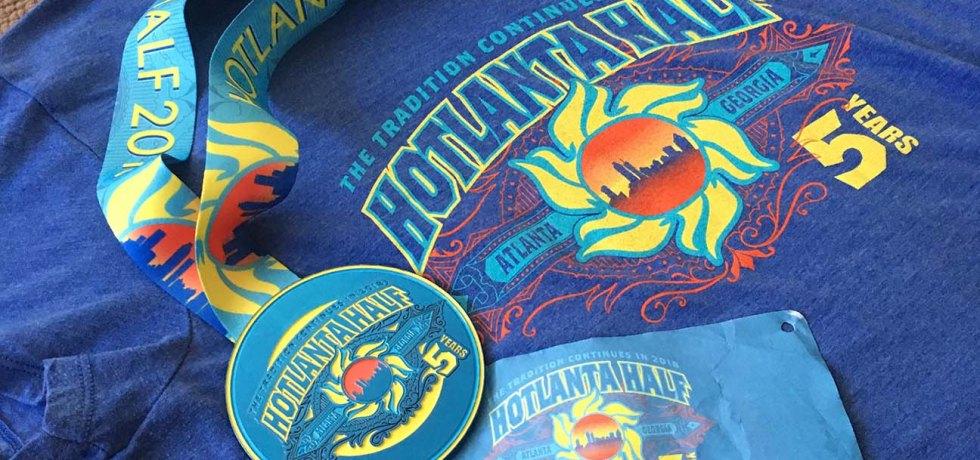 Hotlanta Half Marathon T-shirt, Medal, and Race Number