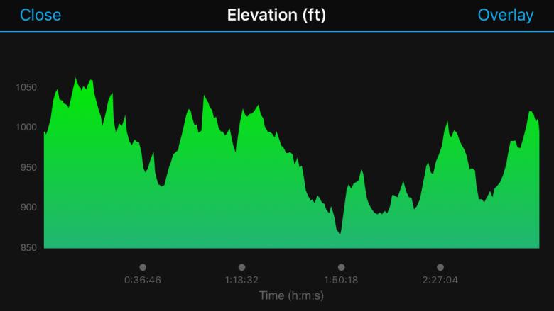 Elevation chart for the Hotlanta Half Marathon