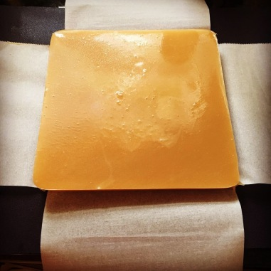 Salted Vanilla Caramel Candy Uncut on parchment paper