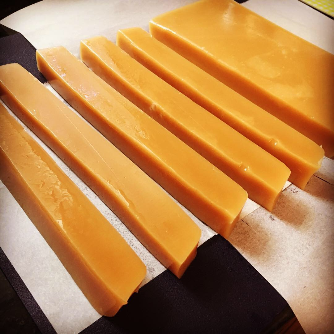 Salted Vanilla Caramels Cutting In Process
