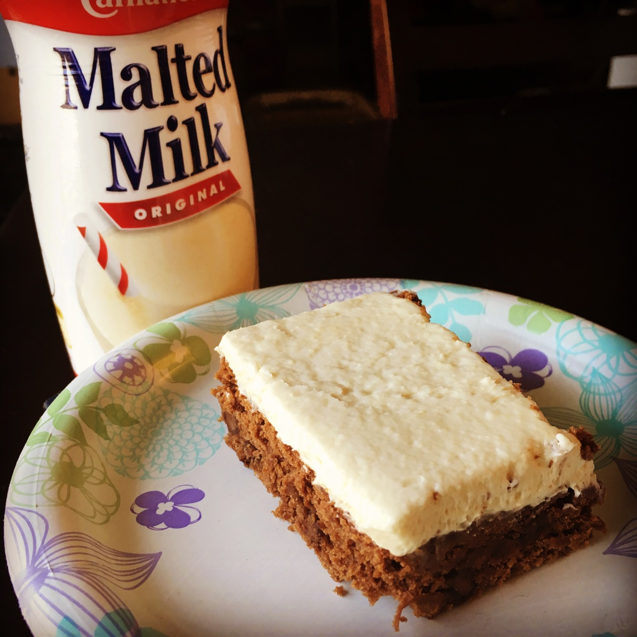 Chocolate malt cake with vanilla malted milk frosting