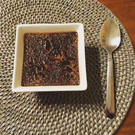 Dark Chocolate crème brûlée with spoon