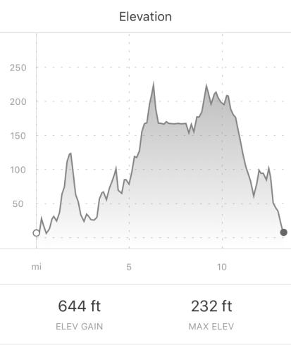 Baltimore Running Festival Half Marathon Elevation according to Strava