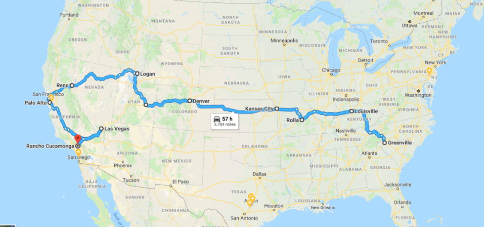 driving from South Carolina to California on a digital nomad adventure