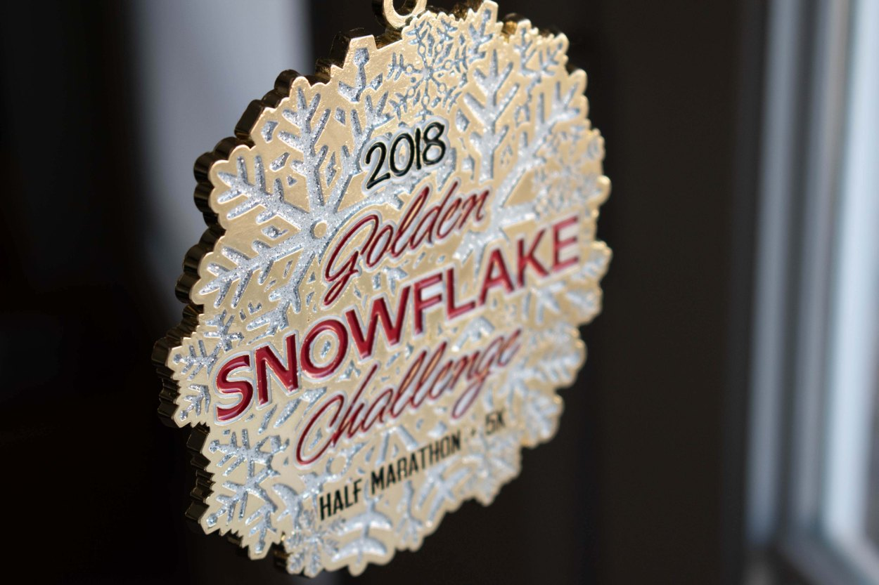 Pomona Holiday Half Marathon & 5K Ugly Sweater Run Snowflake Medal