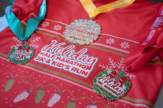Pomona Holiday Half Marathon & 5K Ugly Sweater Run Shirt & Medals