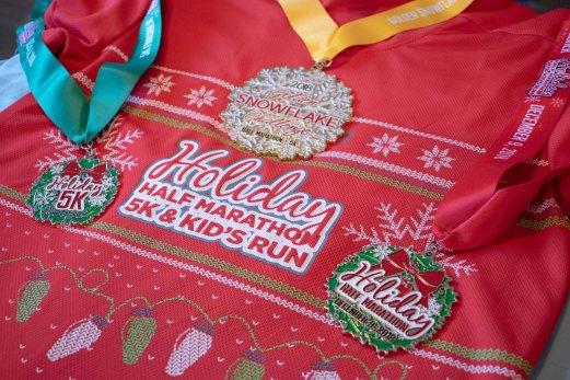 Pomona Holiday Half Marathon & 5K Ugly Sweater Run Shirt & Medals
