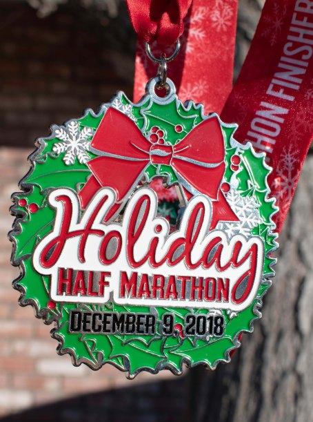Pomona Holiday Half Marathon & 5K Ugly Sweater Run Medal