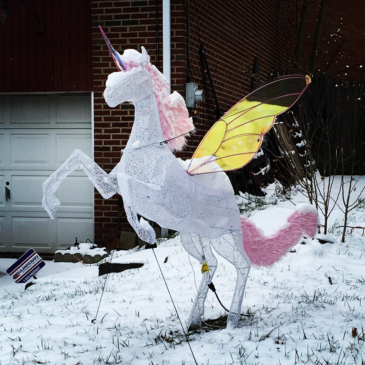 unicorn in the snow in Pittsburgh