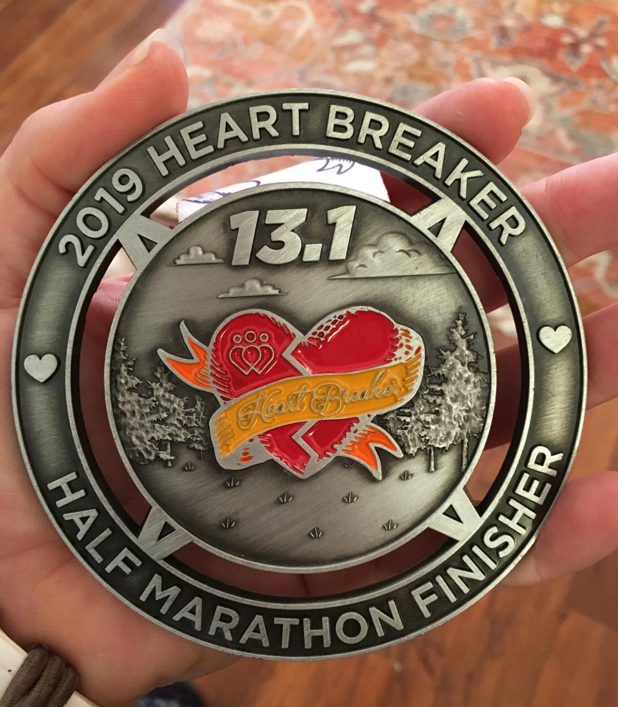 Heart Breaker Half Marathon Medal Portland Oregon 2019