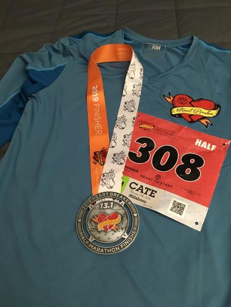 Heartbreaker Half Marathon 2019 Medal and Shirt