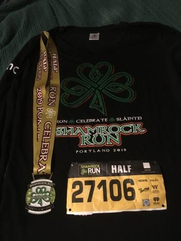 Shamrock Run Portland Half Marathon Medal and Shirt 2019