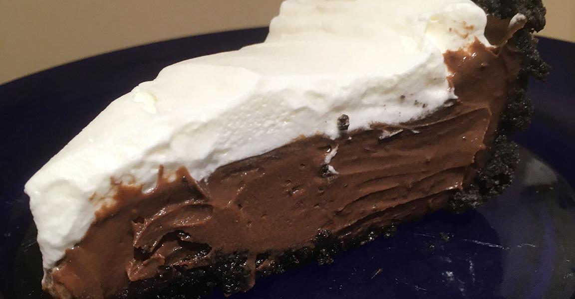 The Best Dark Chocolate Cream Pie Slice
