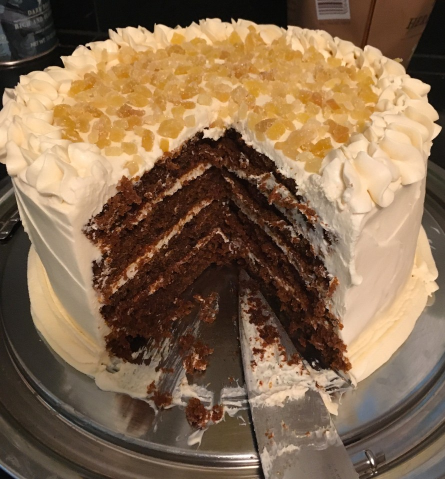 spicy gingerbread layer cake with honey cream cheese frosting